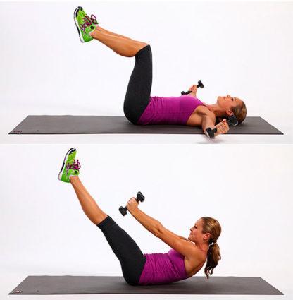 К упражнения для спины с гантелями,можно добавить штангу