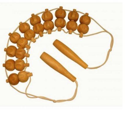 Роликовый массажер для спины состоит из рукоятки и фигурных элементов